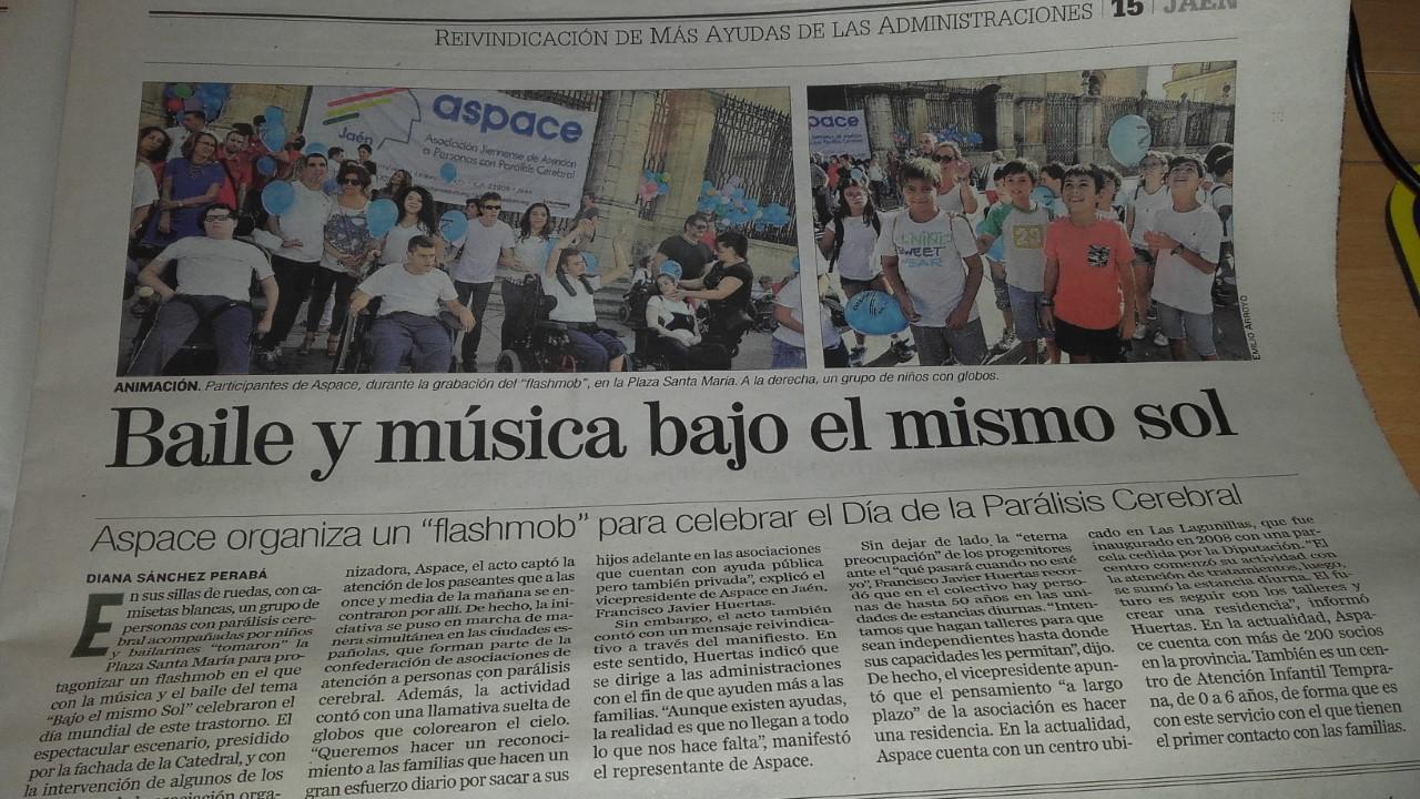 Noticia en Diario Jaén sobre el Día Mundial de la Parálisis Cerebral