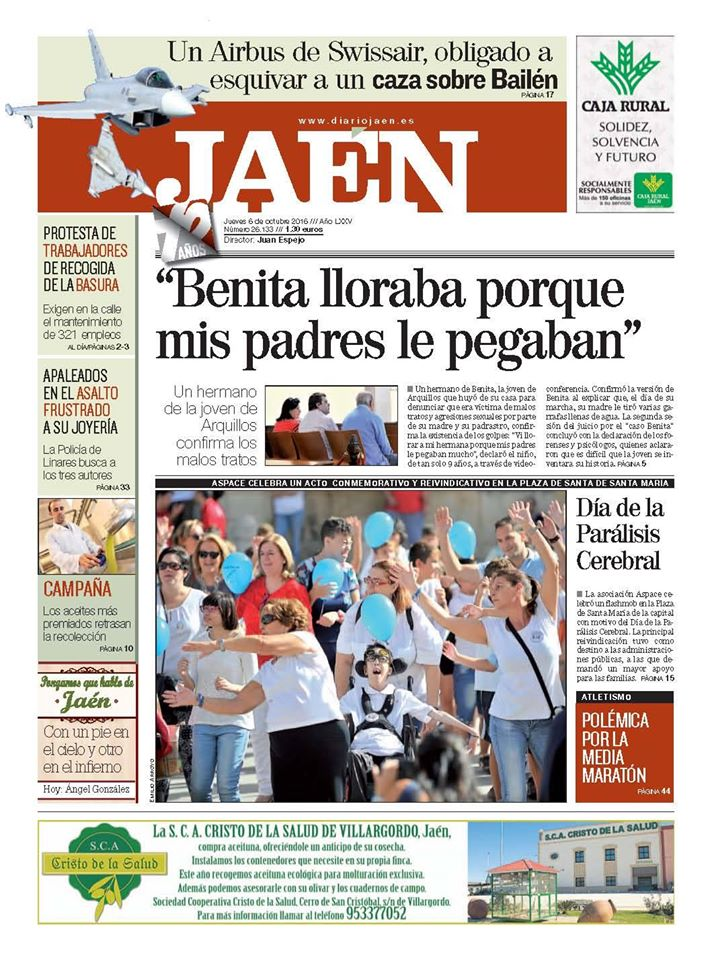 Portada en Diario Jaén con motivo del Día Mundial de la Parálisis Cerebral
