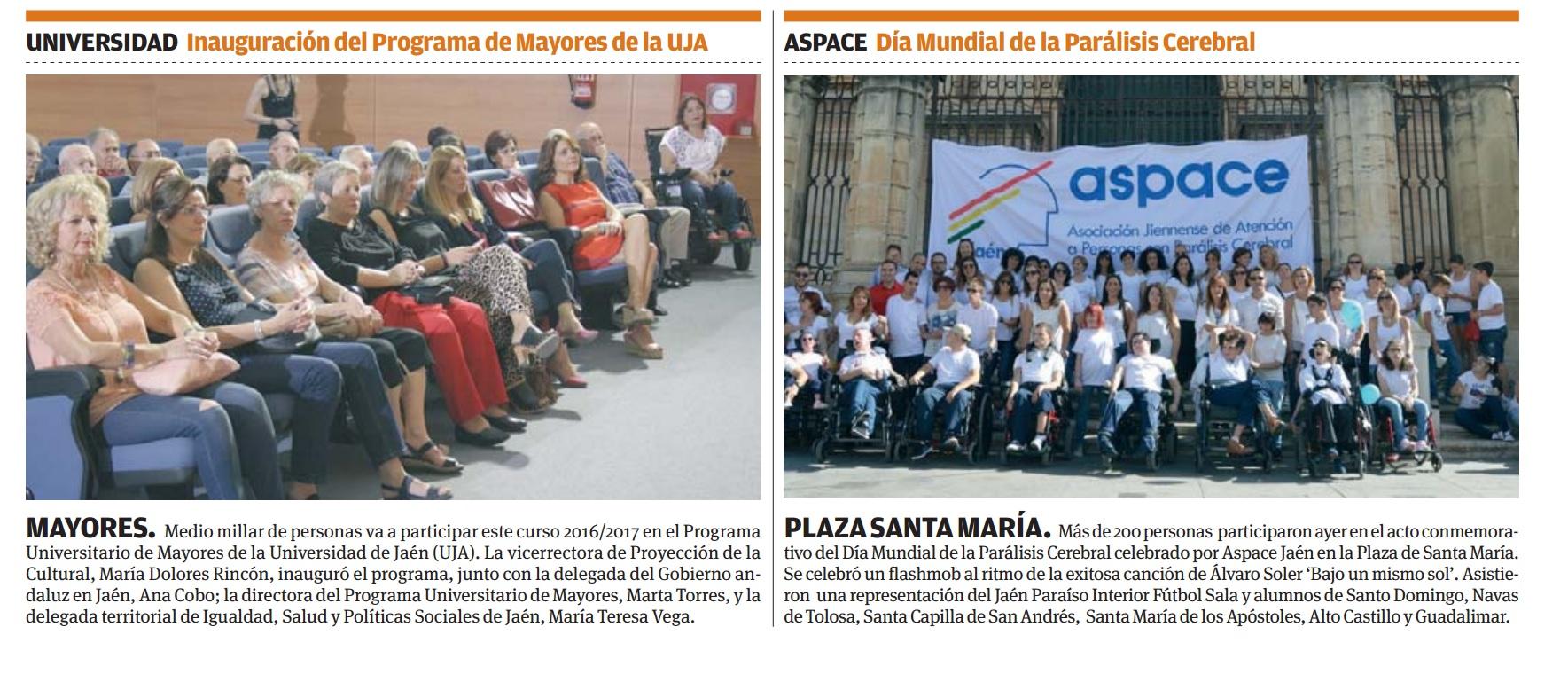 Noticia en Viva Jaén con motivo del Día Mundial de la Parálisis Cerebral