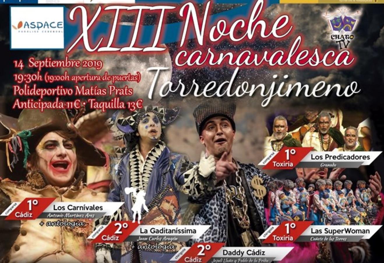La XIII Noche carnavelesca de Torredonjimeno colaborará con Aspace Jaén