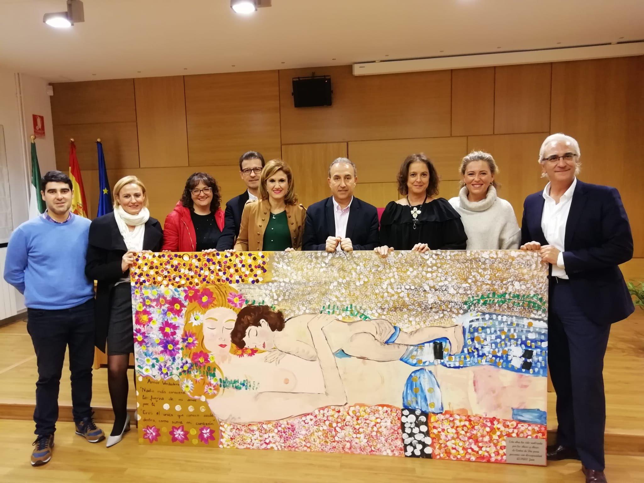 Aspace Jaén dona un cuadro realizado por los chic@s del Centro de Día a la Delegación de Salud y Familias